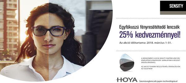 Hoya fényresötétedő lencsék 25% kedvezménnyel