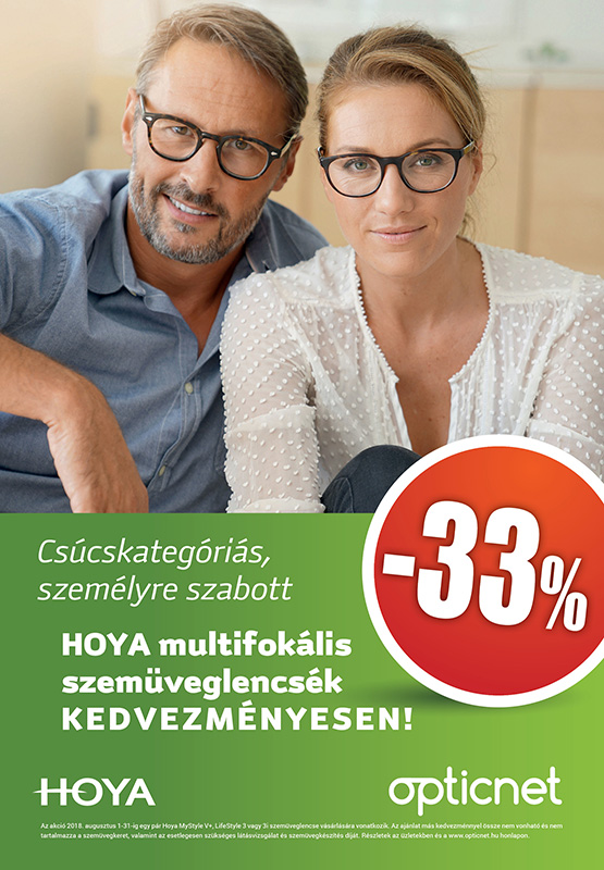 Hoya multifokális lencsék 33% kedvezménnyel